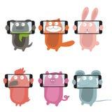 Selfie with cartoon animals .Vector Stock Images
