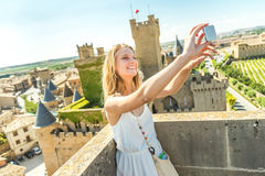 Selfie at castle Royalty Free Stock Image
