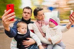 Selfie cheerful Portrait Family Stock Image