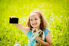 Selfie child and cat Royalty Free Stock Images