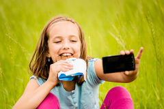 Selfie - child with chocolate Royalty Free Stock Photo