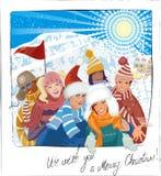 Selfie on Christmas vacation stock illustration