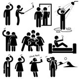 Selfie Cliparts symboler Arkivbild