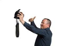Selfie con la grande macchina fotografica Fotografie Stock Libere da Diritti