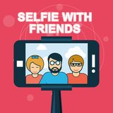 Selfie con los amigos - smartphone Stock de ilustración