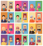 Selfie Conceptual Illustrations in Flat Design. Selfie concept vectors. Flat design. Set of characters with mobile phone in hand making photo and mobile device Royalty Free Stock Images