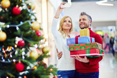 Selfie of consumers on Christmas sale Royalty Free Stock Photography