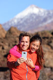 Selfie couple hiking in beautiful nature Royalty Free Stock Photography