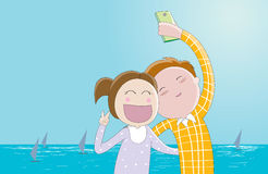 Selfie-a couple of lovers taking photo of themselves. Cute cartoon illustration / EPS 10 Stock Photography