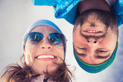 Selfie couple winter Stock Photo