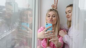 Selfie creativity youth friends pastime girls. Selfie creativity. youth friends leisure lifestyle. online posting social network concept. young girls taking stock video footage