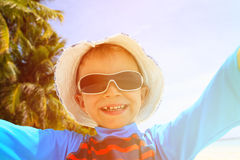 Selfie of cute happy little boy at beach Royalty Free Stock Photos
