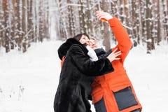 Selfie d'hiver d'amie d'ami sur une promenade Images libres de droits