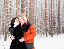 Selfie d'hiver d'amie d'ami sur une promenade Photo stock