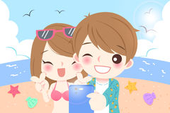Selfie de couples en plage illustration libre de droits
