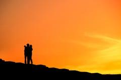 Selfie de couples, silhouette Image libre de droits