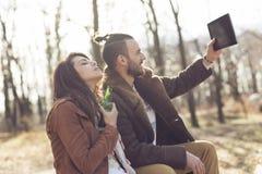 Selfie de forêt d'automne Images stock