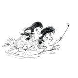 Selfie de grenouille de femme d'homme de couples illustration stock