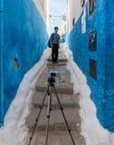 Selfie de prise de touristes asiatique dans Udayas, Rabat, Maroc photographie stock libre de droits