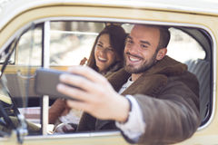 Selfie de promenade en voiture Photos stock