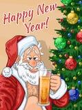 Selfie de Santa Claus con la cerveza Imagenes de archivo