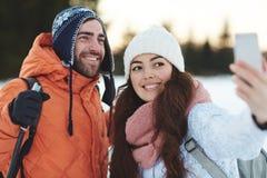 Selfie de station de vacances d'hiver Photo stock