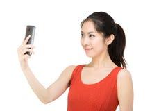 Selfie de wman de l'Asie Photographie stock libre de droits