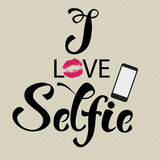 Selfie decorative lettering Stock Photography