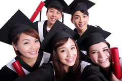 Selfie des glücklichen Schulabgängers Stockfotos