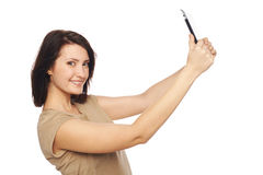 Selfie di presa femminile con la compressa digitale Fotografia Stock Libera da Diritti