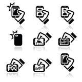 Selfie, die foto's met smartphones voor sociale media geplaatste pictogrammen nemen Stock Afbeelding