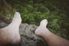 Selfie do pé do montanhista de rocha Fotografia de Stock Royalty Free