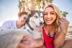 Selfie with dog Royalty Free Stock Image