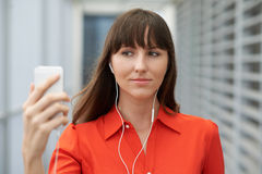 Selfie in earphones Royalty Free Stock Photos