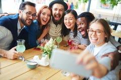 Selfie en café Photo libre de droits