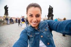 Selfie en Praga imagenes de archivo