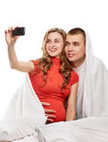 Selfie enceinte de couples Photo libre de droits