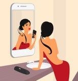 Selfie engraçado da mulher sensual moreno ilustração stock