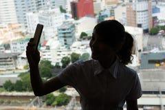 Selfie för affärskvinna Arkivbilder