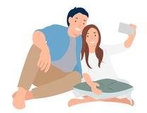 Selfie för design för tecknad filmfolktecken med vännen, ungt par som lyckligt tar bilden royaltyfri illustrationer