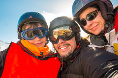 Selfie family winter vacations stock photos