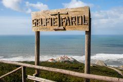 Selfie Farol Cabo Mondego Lighthouse Stock Photos