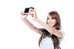 Selfie feliz de la chica joven del viaje Fotos de archivo