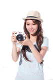 Selfie feliz de la chica joven del viaje Foto de archivo libre de regalías