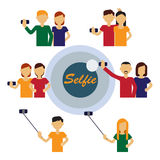 Selfie figures of people Royalty Free Stock Images