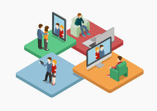 Selfie flat 3d web isometric infographic concept. Vector. Couple making self photo shot by smart phone for social media network post. Creative people collection Stock Images