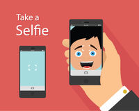 Selfie flat design concept Royalty Free Stock Photo