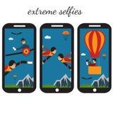 Selfie flat design illustration. Extreme selfie flat design illustration Stock Photography