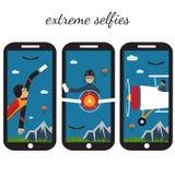 Selfie flat design illustration. Extreme selfie flat design illustration Royalty Free Stock Photo