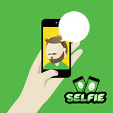 Selfie flat design illustration Royalty Free Stock Photography